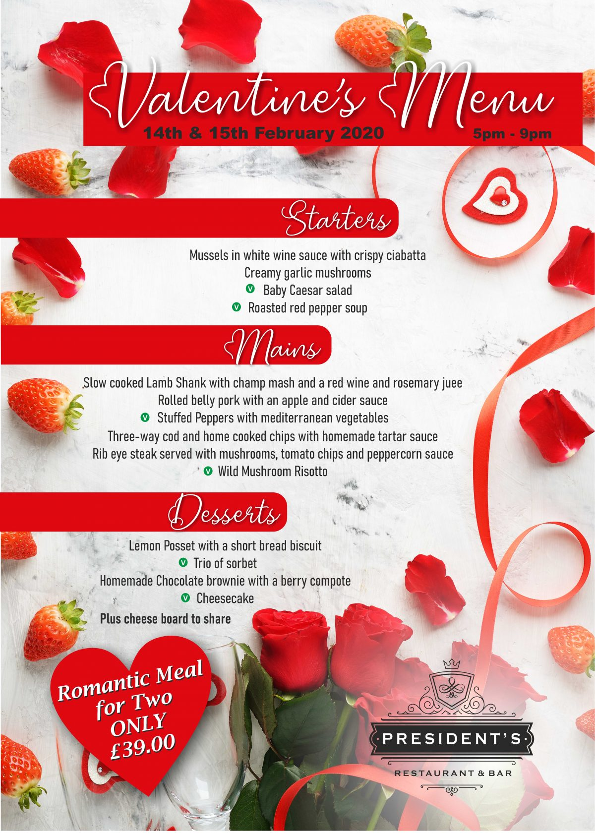 Valentine's Day - Presidents Restaurant
